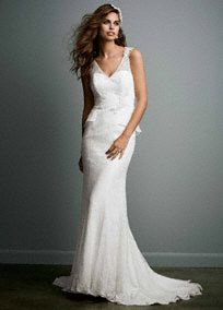 This lavish vintage-style trumpet peplum wedding dress is absolutely charming! Style KP3623 #Galina #DavidsBridal #Spring2014 #WeddingDress