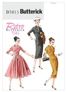 B5813 | Butterick Patterns Retro Butterick 1956 Misses' Raised-Waist Dresses. Sizes 14 thru 22