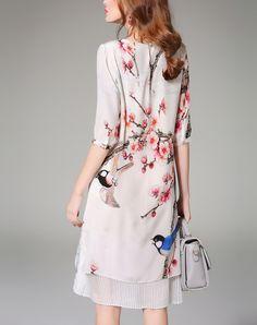 Red Color-block Slit Silk Printed Midi Shirt Dress, Red, FLENKIY | VIPme