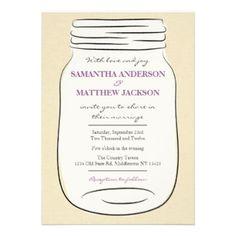 Mason Jar Wedding Invitation. Great for a country, rustic or casual wedding! Mason jar hand drawn on a faint linen texture background.