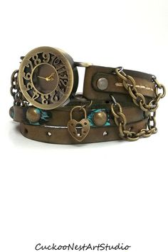 Wrap Watch Womens  watch Distressed by CuckooNestArtStudio (I want this it's so cool)