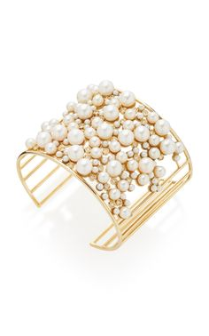 Yellow Gold Pearl and Diamond Cluster Cuff by Nancy