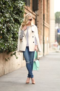 Ann Taylor khaki trench cape, navy striped tee, Paige carmen tear and repair distressed skinny jeans, Christian Louboutin nude patent pigalle platform pump, Brahmin mint la scala ophelia bag, mint and navy spring outfit