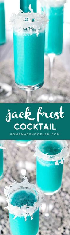 Jack Frost Cocktail This winter cocktail tastes like a festive version of a piña colada! Blue Curacao and shredded coconut help give this tasty drink it's wintry flair. Winter Cocktails, Christmas Cocktails, Holiday Cocktails, Summer Drinks, Christmas Shots, Fun Cocktails, Non Alcoholic Drinks, Bar Drinks, Cocktail Drinks