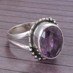 AMETHYST 925 SOLID STERLING SILVER DESIGNER RING 5.0g DJR4288 #Handmade #Ring