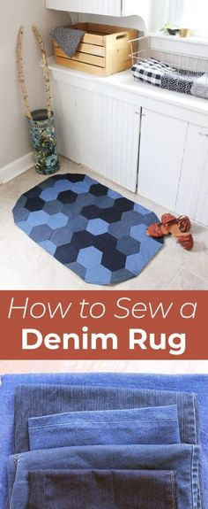 New Ideas For Patchwork Jeans Diy Denim Rug Artisanats Denim, Denim Rug, Denim Quilts, Patchwork Jeans, Sewing Hacks, Sewing Tutorials, Sewing Tips, Sewing Patterns Free, Free Sewing