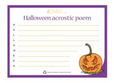This printable acrostic poem template can be used to encourage your child to write a spooky poem for Halloween! iChild.co.uk