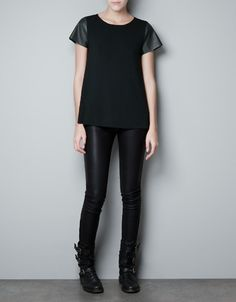 KNIT TOP WITH LEATHER SLEEVES - Knitwear - Woman - ZARA