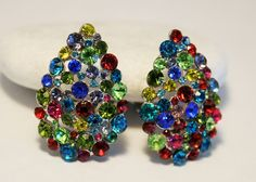 Vintage earrings.  Rhinestone earrings.  by chicvintageboutique
