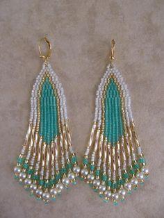 Seed Bead Earrings  Minty Aqua by pattimacs on Etsy, $24.00