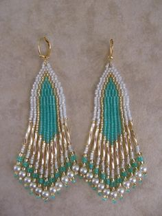 Seed Bead Earrings  Minty Aqua by pattimacs on Etsy, $24.00