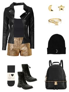 """""""Paint it black and gold"""" by liz-lite on Polyvore featuring Topshop, Lanvin, Oasis, IRO, Erica Weiner, Bling Jewelry, Michael Kors, women's clothing, women and female"""
