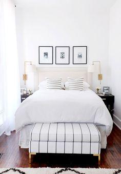 Shop The Everygirl's New Furniture Collaboration! shop our new furniture collaboration with White Bedroom Design, White Bedroom Decor, Home Decor Bedroom, Bedroom Ideas, Bedroom Designs, White Bedroom Black Furniture, Black White And Gold Bedroom, Bedroom Sconces, Diy Bedroom