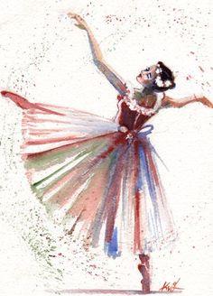Christmas Gift/ Original Watercolor Painting by SimplyArtByKristin Art Ballet, Ballerina Painting, Ballerina Art, Watercolor Dancer, Watercolor Images, Watercolor Paintings, Ballet Drawings, Ballet Posters, Art Pierre