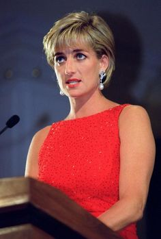 Princess Diana addresses a gala benefit for victims of land mines at the National Museum of Women in the Arts in Washington, June 17, 1997.