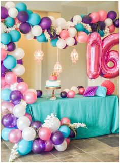 Sweet 16! Purple, teal, and pink princess party! Teenage glitz and glam birthday!