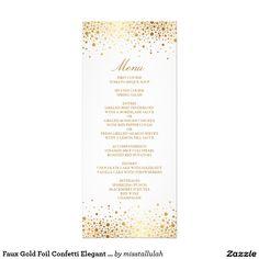 Faux Gold Foil Confetti Elegant Menu Card