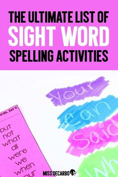 Word Work Ideas for Sight Word Spelling Get TWENTY word work ideas for sight word practice in your classroom! (Plus ideas for structuring your word work time. Spelling Word Practice, Sight Word Spelling, Fry Sight Words, Sight Words List, First Grade Sight Words, Grade Spelling, Second Grade, Spelling Activities, Sight Word Activities