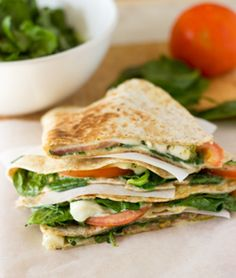 Treat yourself right - easy to make tomato, cheese, spinach and pesto…
