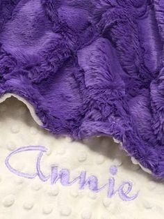 Personalized Baby Blanket Jewel Lattice and Ivory Dot Minky