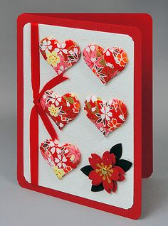 """gorgeous washi papers for puffy paper """"quilted:"""" hearts . like punched sakure anchoring the group of hearts . Style Asiatique, Asian Crafts, Origami Cards, Chinese New Year Card, Paper Quilt, Scrapbooking, Scrapbook Cards, Heart Cards, Kirigami"""