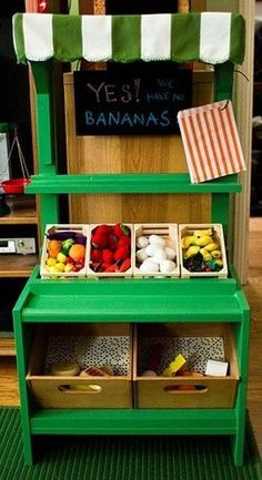 We'll never stop the lovefest for diy play kitchens, but we have a feeling diy play markets are going to be the next big thing - especially after seeing this beauty!