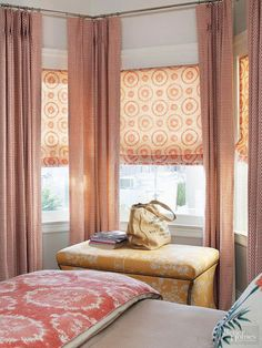 Diy Window Treatments Bedroom Lovely Bay and Bow Window Treatment Ideas Bow Window Treatments, Window Coverings, Bedroom Blinds, Bedroom Windows, Bay Windows, Nursery Curtains, Large Windows, Wooden Windows, Arched Windows