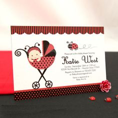 Cards Inspired - Baby shower invitatation card - Ladybug theme   Cards Inspired