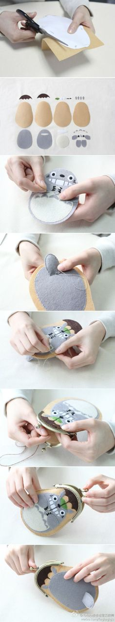 Felt Totoro coin purse -- too cute for words! --- Share yours Totoro with Society ___________________________ Cute Crafts, Felt Crafts, Fabric Crafts, Sewing Crafts, Diy And Crafts, Arts And Crafts, Totoro, Craft Projects, Sewing Projects