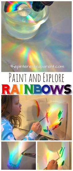 Rainbows: Make, explore and paint rainbows. Use a CD and sunlight or a flashlight to cast rainbows, study and paint with watercolors or color with markers or crayons. A great piece of process art for kids. Art and science, STEAM projects for preschoolers. Rainbow Activities, Steam Activities, Preschool Activities, Art Activities For Preschoolers, Process Art Preschool, Preschool Art Projects, Steam For Preschool, Kid Art Projects, Rainbow Crafts Preschool