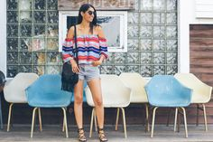stripe off shoulder top, black cut offs, chicago style blogger
