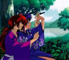 Kenshin and Kaoru - Rurouni Kenshin Rurouni Kenshin, Kenshin Anime, Manga Anime, Anime Kimono, Kenshin Le Vagabond, Era Meiji, Blue Exorcist, Manga Games, Anime Love
