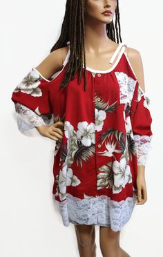 Womens Hawaiian Beach Wear Cover Up Tunic Style Hippie Clothes Off Shoulder Summer Top Free Sized Fits 8 To Plus Size 2x