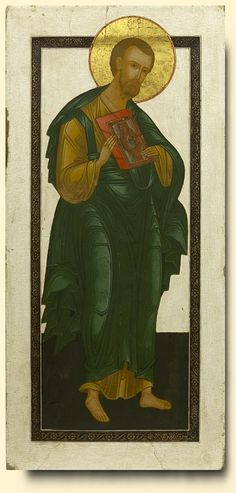 Detailed view: Saint Bartholomew the Apostle- exhibited at the Temple Gallery, specialists in Russian icons Religious Icons, Religious Art, St Bartholomew Church, Writing Icon, Russian Icons, Russian Orthodox, Byzantine Art, Orthodox Icons, Colorful Backgrounds