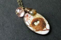 Birds Nest Pendant Necklace with Wire Wrapped by TheTeardropShop, $26.00