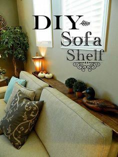Move your couch away from the heating vent by adding a DIY shelf.