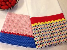Kitchen Tea Towel (hand, flour sack, kitchen towel), set of 2, retro 1930's reproduction, red yellow blue on Etsy, $21.00