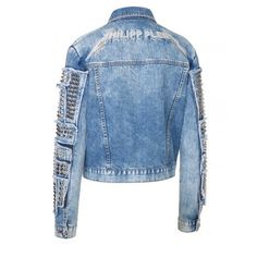 "denim jacket ""persepolis"" ($1,815) ❤ liked on Polyvore featuring outerwear, jackets, studded jackets, denim jacket, jean jacket, blue jackets and studded denim jacket"
