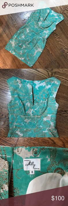 Milly gold and teal dress Super cute short Milly dress. Lightly worn. Message me for more details. Milly of New York Dresses Mini