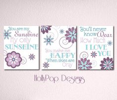 Nursery Wall Decor-Girls Room Art Prints-You are My Sunshine Purple Teal Wall Art for Kids-Inspirational Song Lyrics-Quotes for kids