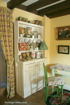 English Country Cottage | Dresser with decorative vintage treasures in the Living Room at Pottery Cottage. www.vintage-home.co.uk