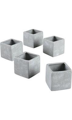 Ivy Lane Design Smooth Square Favor Flower Pots, Gray Stone, Set of 5 Best Price