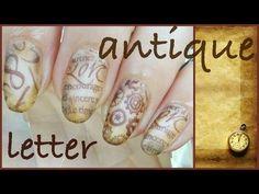 アンティーク antique letter Nail スタンピングネイル - YouTube