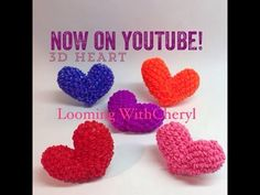 Rainbow Loom 3D Heart charms - Looming WithCheryl. Loomigurumi Tutorial is Now on YouTube! Charms / figures / gomitas / gomas. Crochet hook only. Please Subscribe ❤️❤ m.youtube.com/user/LoomingWithCheryl