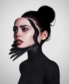 #drawing by Laura H. Rubin. #Digitalart #art #face #beauty #illustration #design Mask Drawing, Beauty Illustration, Face Beauty, Brushes, Bangs, Artworks, Freedom, Rocks, Digital Art