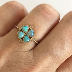 For Sale on - Dalben design four-leaf clover Australian Opals little ring with 4 heart shape Australian Opals and 4 light brown round brilliant cut Diamonds weighing Clover Ring, Four Leaf Clover, Stone Jewelry, Diamond Jewelry, Charm Rings, Diamonds And Gold, Diamond Cuts, Fashion Jewelry, White Gold