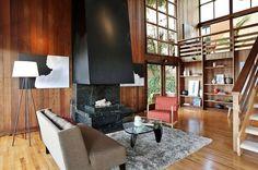 Dream home - wood, black fireplace, windows, open