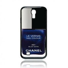 Blue Satin Chanel Nail Polish Samsung galaxy S4 i9500 and samsung s4 mini case