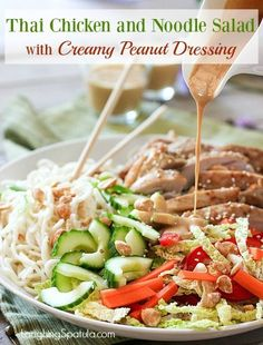 Cool and Crunchy Thai Chicken and Noodle Salad with Creamy Peanut Dressing! Makes enough to feed your family and then some! Asian Recipes, New Recipes, Cooking Recipes, Healthy Recipes, Ethnic Recipes, Favorite Recipes, Sweets Recipes, Healthy Dinners, Amazing Recipes