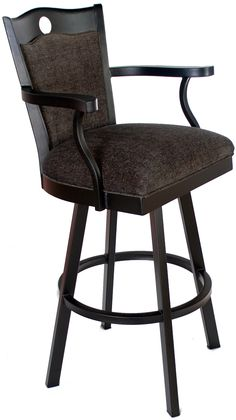 "Clayton Bar Stool available in your choice of fabrics and finishes, with or without arms, counter, bar or extra tall (34"") height from www.chattanoogabarstools.com"